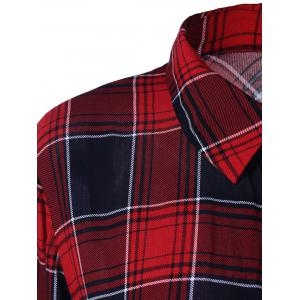 Plus Size Twist Front Plaid Shirt - CHECKED XL