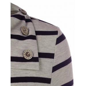 Striped Elbow Patch T-Shirt With Button Detail - STRIPE M