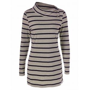 Striped Elbow Patch T-Shirt With Button Detail