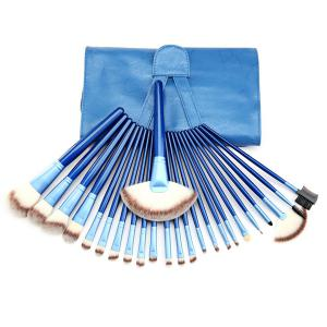 24 Pcs Facial Makeup Brushes Set with Brush Bag - Blue