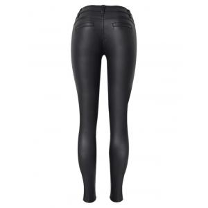 Diamond Pattern Faux Leather Ponte Pants -