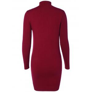 High Neck Long Sleeve  Ribbed Bodycon Sweater Dress -