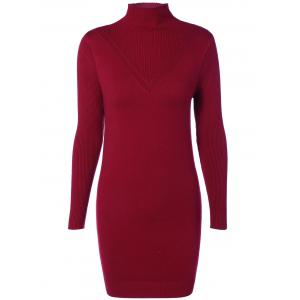 High Neck Long Sleeve  Ribbed Bodycon Sweater Dress - Wine Red - One Size