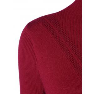 High Neck Ribbed Bodycon Sweater Dress - WINE RED ONE SIZE
