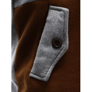Pocket Button Up Contrast Insert Elbow Patch Hoodie - GRAY XL