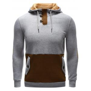 Pocket Button Up Contrast Insert Elbow Patch Hoodie