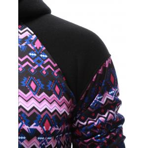 Tribal Print Kangaroo Pocket Raglan Sleeve Hoodie - BLACK XL