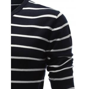 V Neck Contrast Striped Sweater - PURPLISH BLUE XL