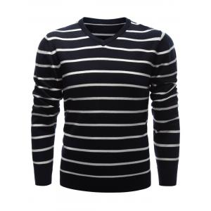 V Neck Contrast Striped Sweater
