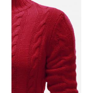 High Neck Zip Up Twist Knit Cardigan - RED XL