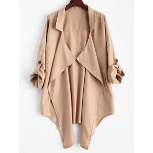 Pointed Hem Plus Size Trench Coat - Khaki - 3xl