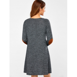 Elbow Patch Long Sleeve Dress -