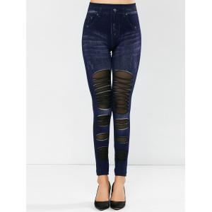 Mesh Insert Dark Wash Jeggings -