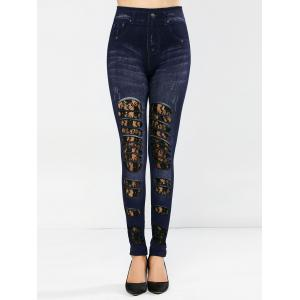Lace Panel Distressed Jeggings -
