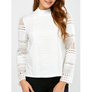 Lace Insert Crochet Blouse