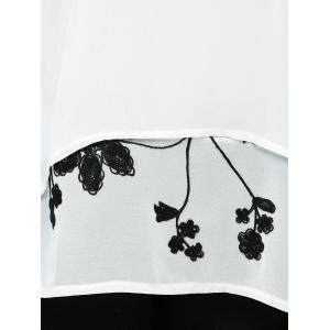 Embroidery Chiffon Layered Blouse - WHITE XL