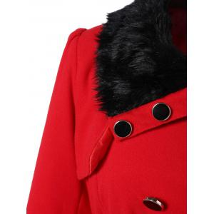Fur Collar Fitted Pea Coat - RED XL
