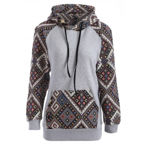 Front Pocket Jacquard Tribal Hoodie - Black And Grey - S