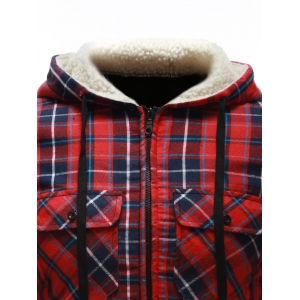Flocking Hooded Pocket Zip Up Plaid Jacket - RED XL