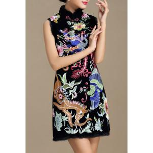 Stand Collar Floral Embroidered Dress -