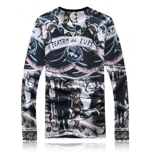 Long Sleeve Flocking Graphic T-Shirt -