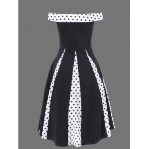 Polka Dot Trim Off The Shoulder Vintage Dress - BLACK M