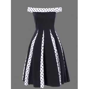 Polka Dot Trim Off The Shoulder Vintage Dress