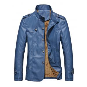 Stand Collar Button Up Epaulet PU Leather Jacket - Denim Blue - 2xl