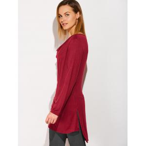 Side Slit High Low Cowl Neck T-Shirt -