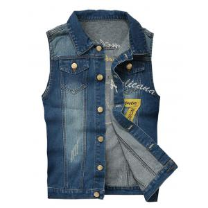 Embroidered Scratched Chest Pocket Denim Waistcoat