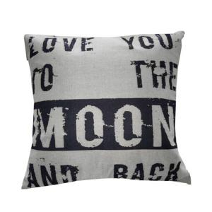 Modern Love You Moon Letter Printed Sofa Cushion Pillow Case - BEIGE