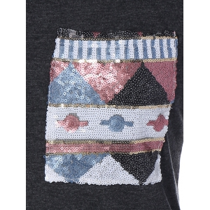Triangle Pattern Sequins Front Pocket T-Shirt -