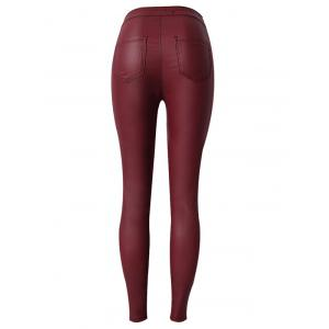 Faux Leather High Waist Skinny Pants - WINE RED 3XL