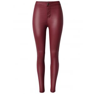Faux Leather High Waist Skinny Pants - Wine Red - L