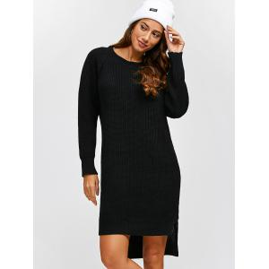 High Low Long Sleeve Sweater Dress - BLACK ONE SIZE