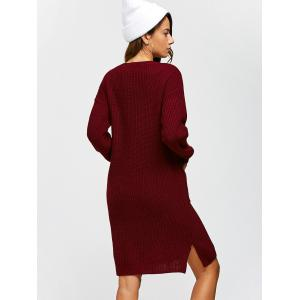 Double Pockets Pullover Sweater Dress - WINE RED L