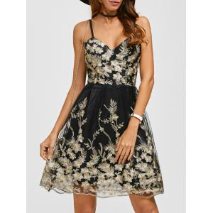 Spaghetti Strap Embroidery Skater Cocktail Dress - Black - S