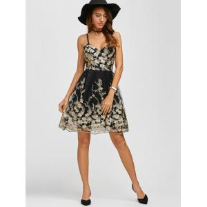 Spaghetti Strap Embroidery Skater Cocktail Dress - BLACK S