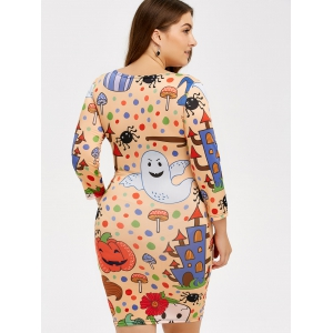 Cartoon Halloween Imprimer Robe moulante - Multicolore 3XL