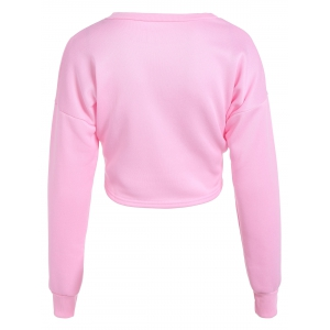 Mouth Print Loose Long Sleeve Pullover Crop Top - PINK L