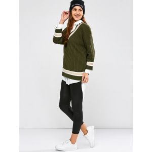 Batwing Ribbed Cricket Sweater - ARMY GREEN ONE SIZE