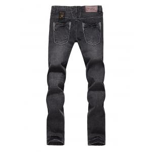 Slim Fit Zip Fly Low Waisted Jeans - DEEP GRAY 36