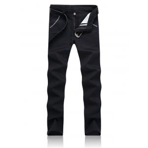 Trimmed Pocket Zipper Fly Tapered Pants