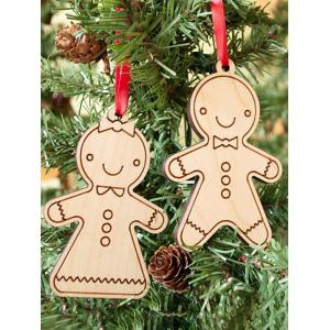 2PCS Wooden Cookie Pendants Christmas Tree Supplies Party Decoration