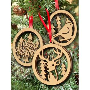 3PCS Wooden Hollow Out Christmas Hangers Party Decoration
