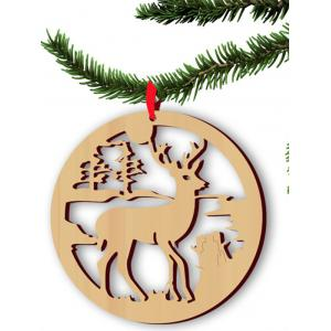 5PCS Wooden Hollow Out Deer Christmas Hangers Party Decoration
