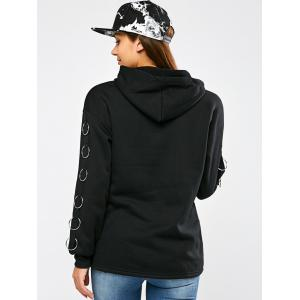 Drop Shoulder Metal Circle Hoodie -