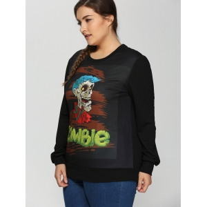 Plus Size Halloween Skulls Print Sweatshirt - BLACK 5XL