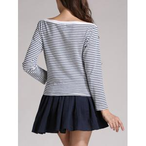 Boat Neck Striped Long Sleeves Tee -