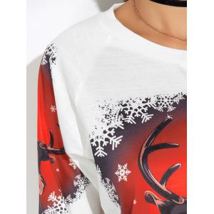 Cartoon Elk Print Christmas Tee - WHITE XL